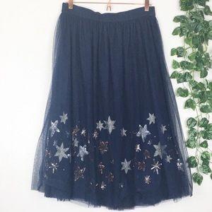 Anthropologie Skirts - Moulinette Soeurs Navy Metallic Lumiere Midi Skirt